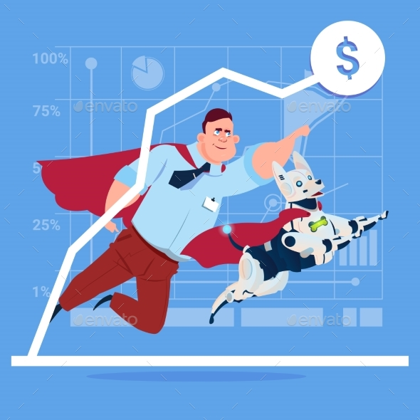 Successful Business Man In Red Cape With Robot Dog - Miscellaneous Conceptual