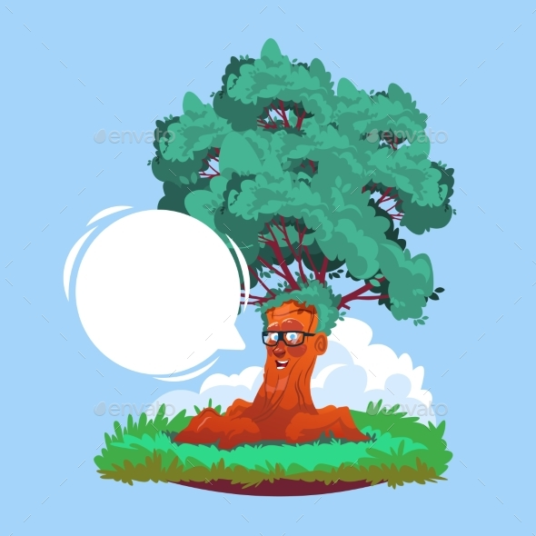 Cartoon Smiling Tree Wearing Glasses with Chat - Flowers & Plants Nature