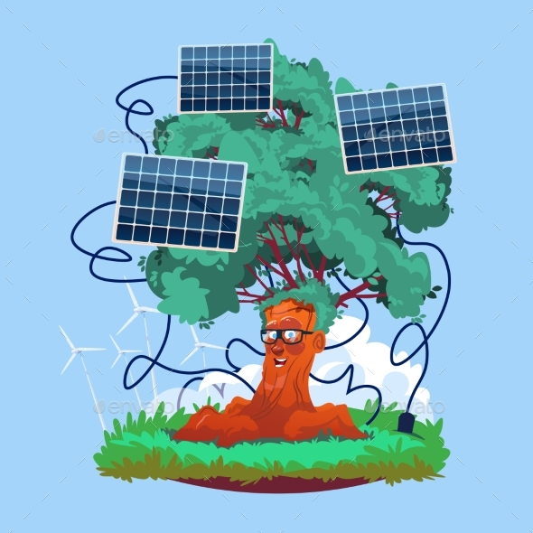 Cartoon Smiling Tree With Solar Panels Renewable - Industries Business