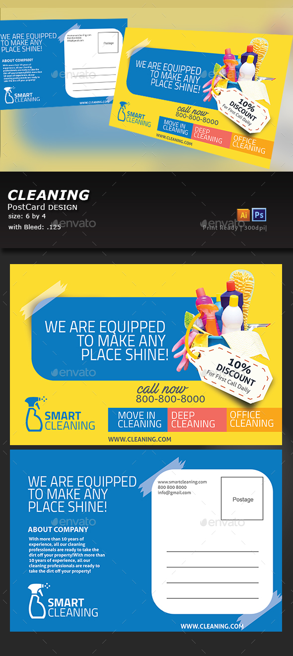 Cleaning Postcard - Flyers Print Templates