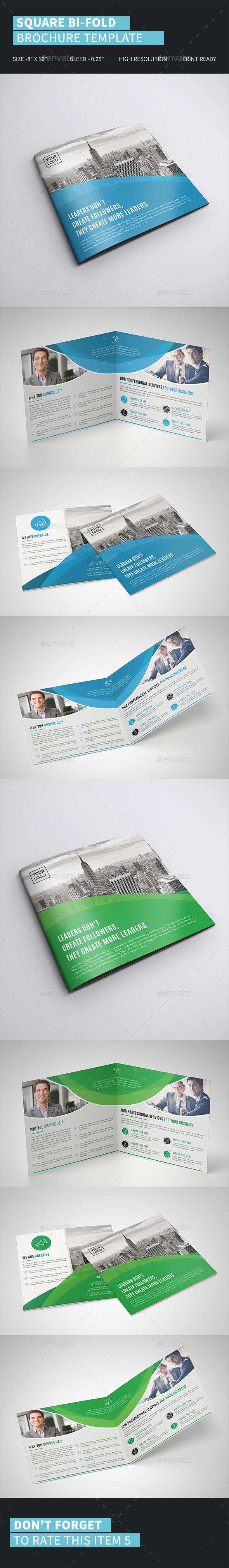 Square Bi-Fold Brochure Template - Corporate Brochures