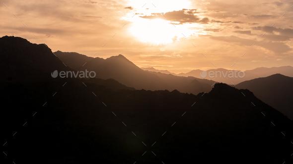 Desert Mountain Sunset - Stock Photo - Images