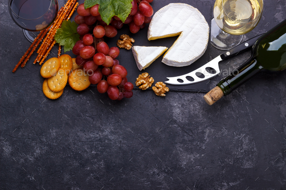 cheese platter snacks and wine - Stock Photo - Images