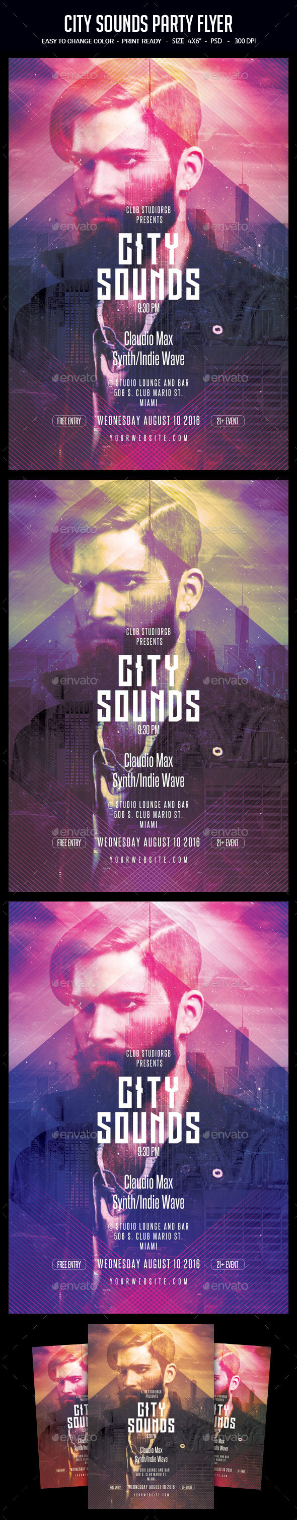 GraphicRiver City Sounds Party Flyer 20339405
