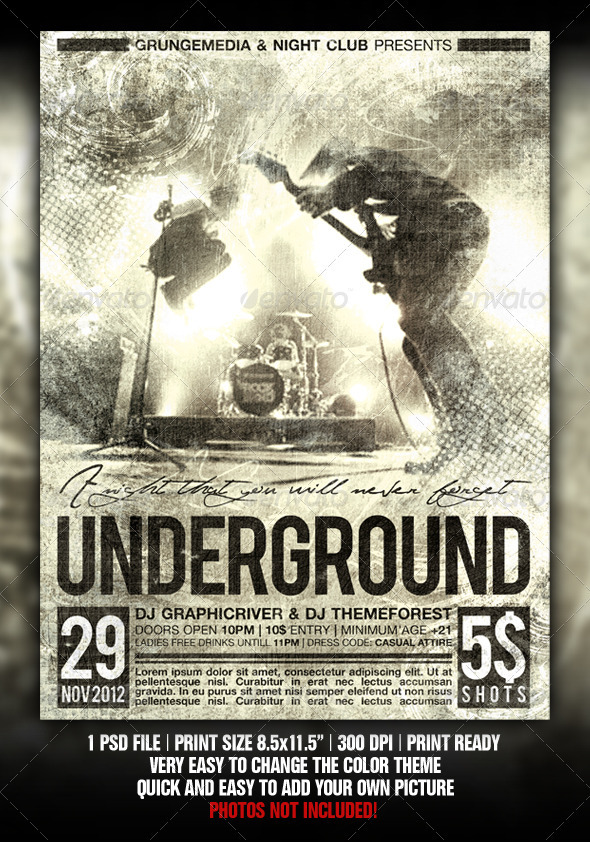 Grunge Party / Concert Poster - Flyers Print Templates