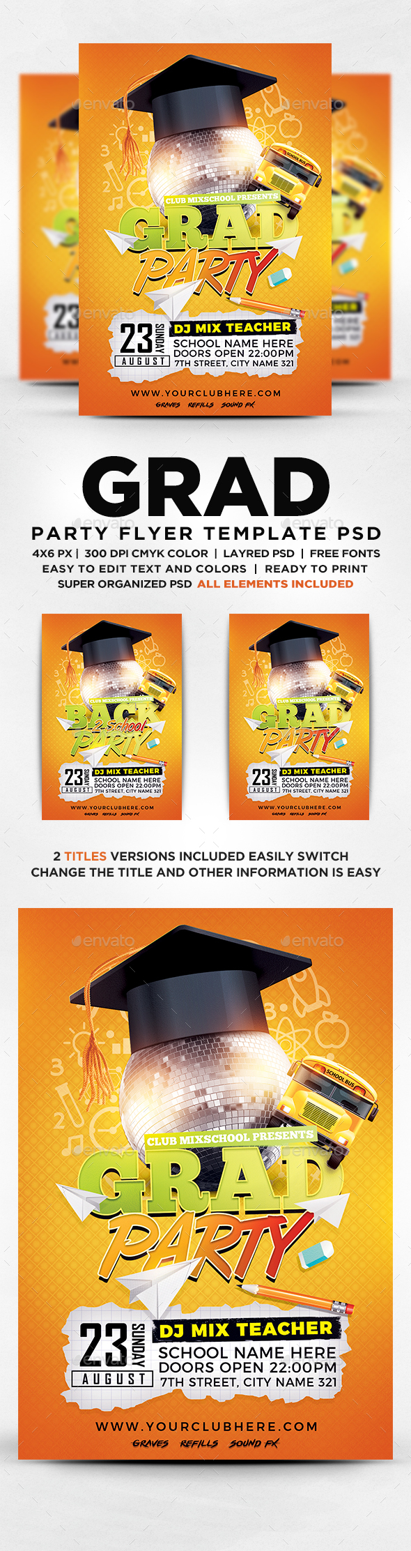 Grad Party Flyer - Flyers Print Templates