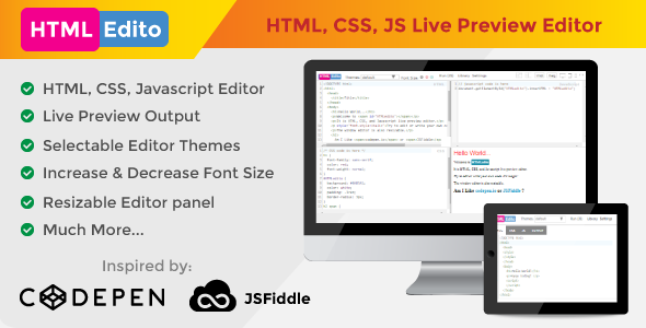 CodeCanyon HTMLEdito HTML CSS JavaScript Live Editor 20339590