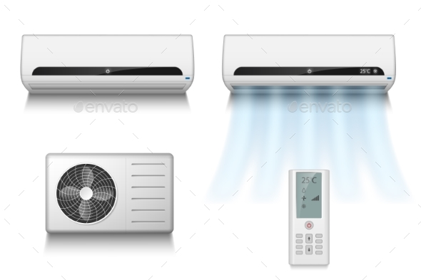 Realistic Set of Air Conditioner with Remote - Man-made Objects Objects