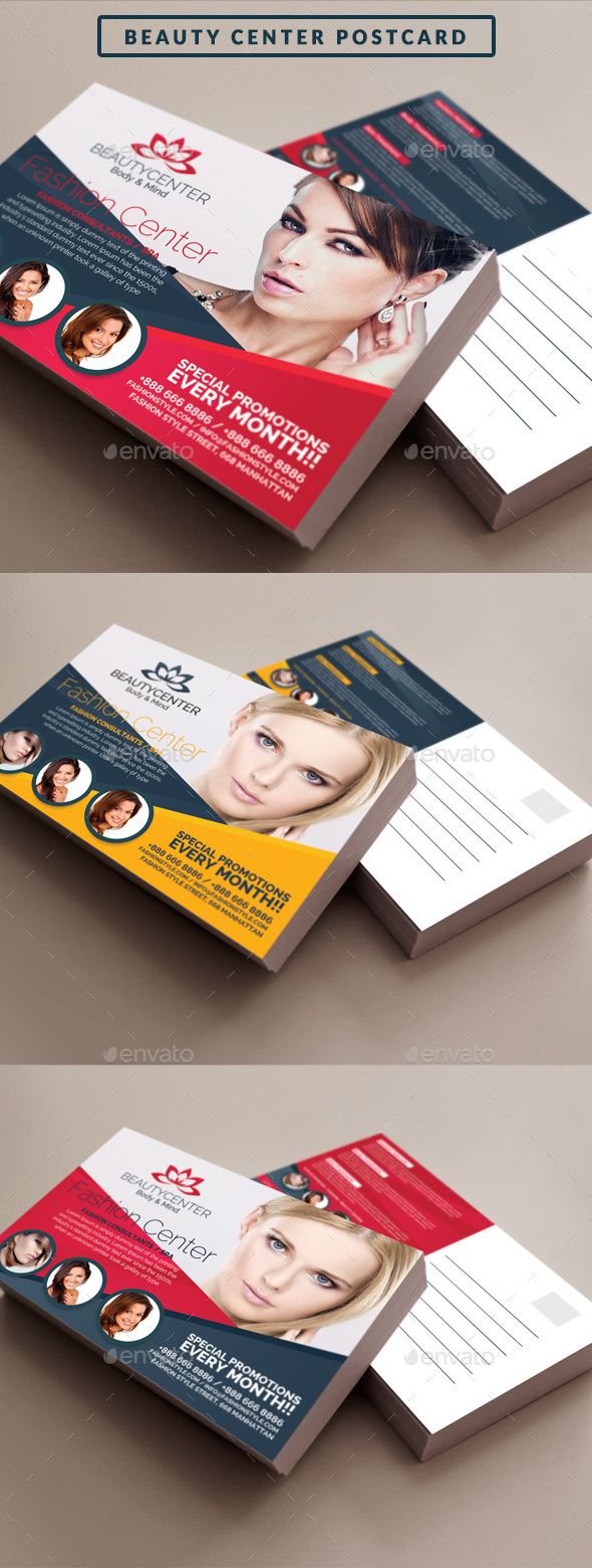 Beauty Center Postcard Template - Cards & Invites Print Templates