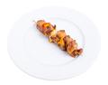 Grilled pork shish kebab with paprika.