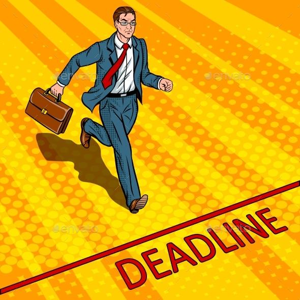 Businessman Run To Deadline Pop Art Vector - Business Conceptual