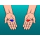 Hands with Red and Blue Pills Pop Art Vector - GraphicRiver Item for Sale