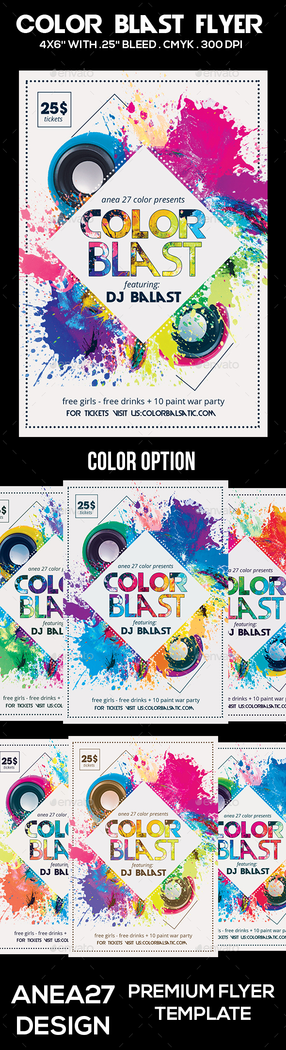 Color Blast Flyer - Clubs & Parties Events