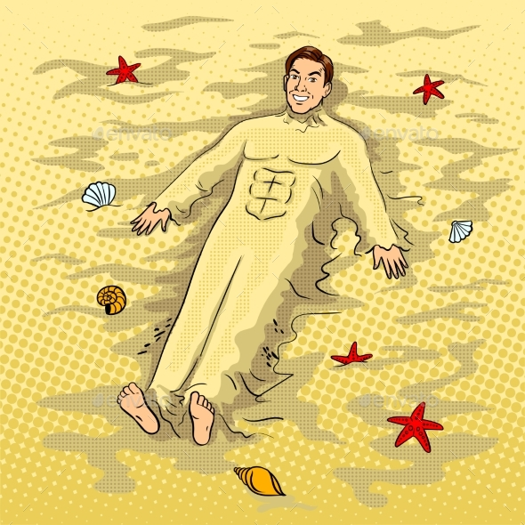 Man Buried in the Sand on the Beach Pop Art Vector - People Characters