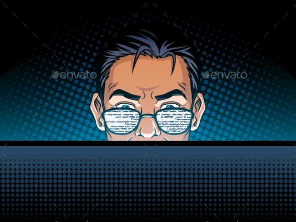 GraphicRiver Software Developer at Work Comic Book Style Vector 20340506