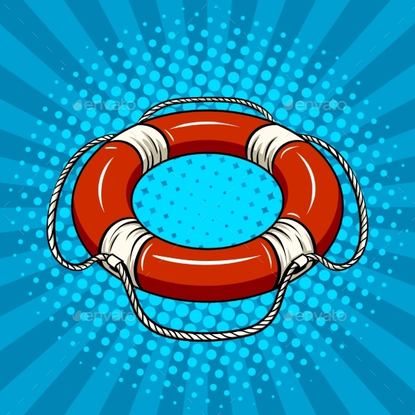 Red Life Buoy on the Water Pop Art Vector - Objects Vectors