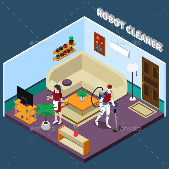 Robot Housewife and Cleaner Professions - Miscellaneous Vectors