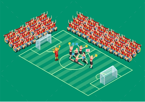 Cheerleading Isometric Illustration - Sports/Activity Conceptual