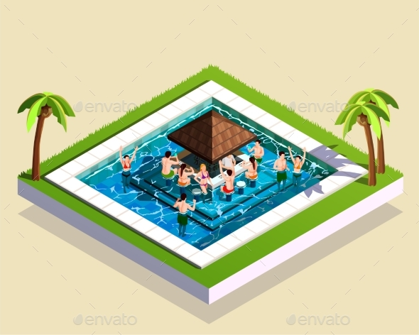 Friends in Water Park Isometric Illustration - Miscellaneous Vectors