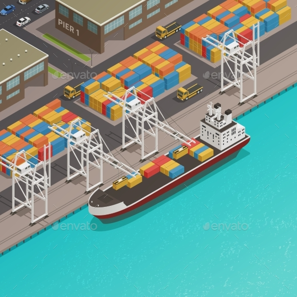Freight Barges Harbor Wharf Isometric - Man-made Objects Objects