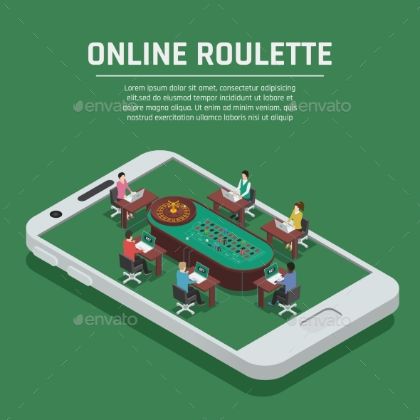 Online Roulette Isometric Smartphone Poster - Web Technology