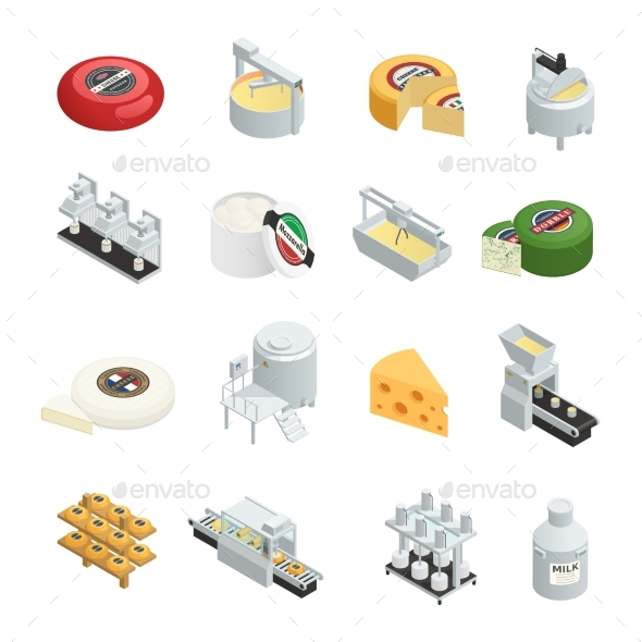 Cheese Production Isometric Icons Collection - Food Objects
