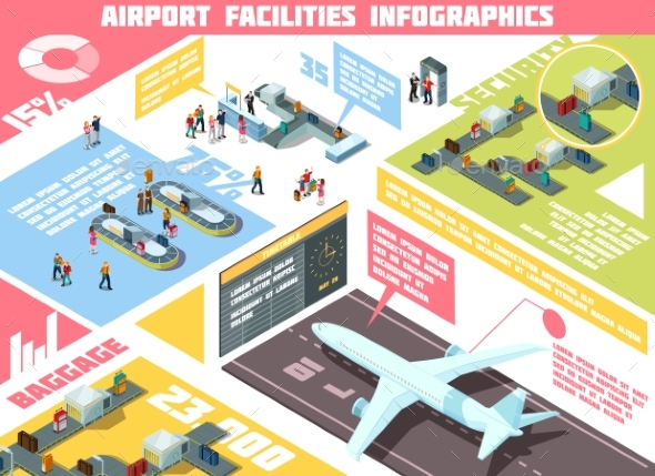 Airport Isometric Infographics - Travel Conceptual