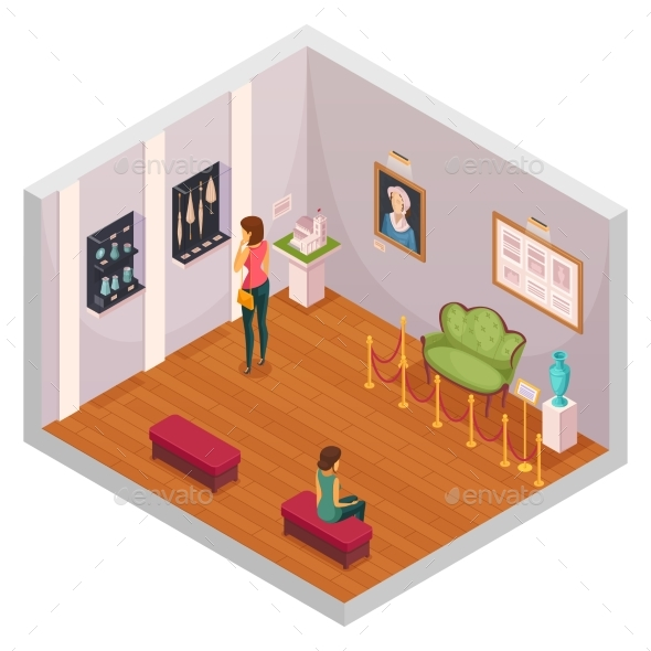 GraphicRiver Museum Exhibition Isometric Composition 20340576