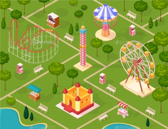Amusement Park Isometric Seamless Pattern - Miscellaneous Vectors