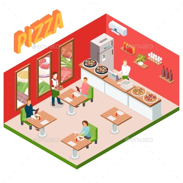 Isometric Pizzeria Background - Food Objects