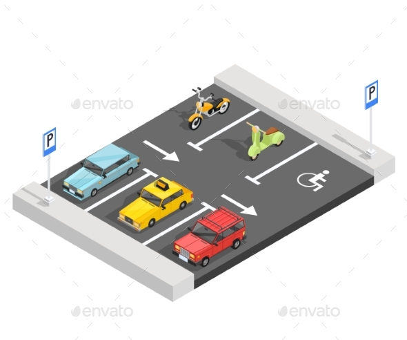 Parking Lot Isometric Composition - Miscellaneous Vectors