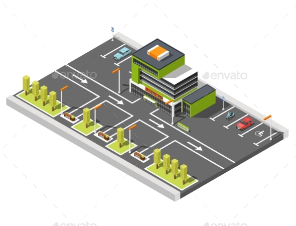 Shopping Center Parking Composition - Buildings Objects