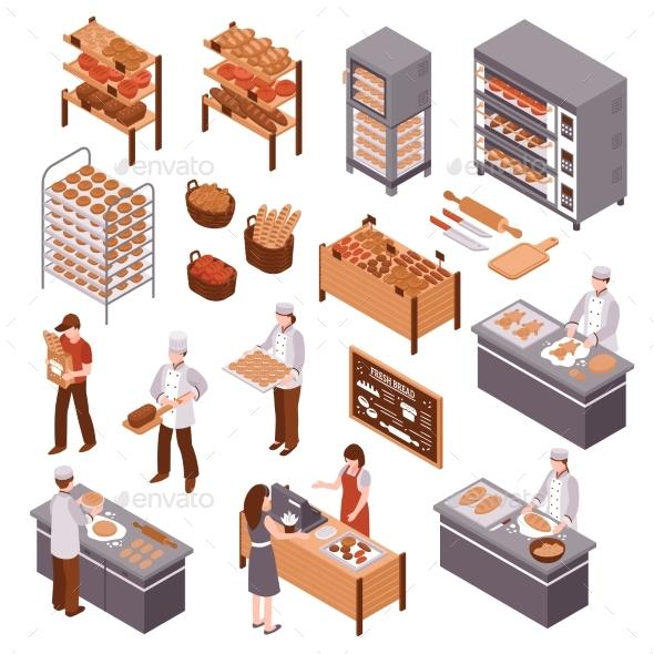 Isometric Bakery Set - Food Objects