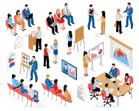Business Education and Coaching Isometric Icons - People Characters