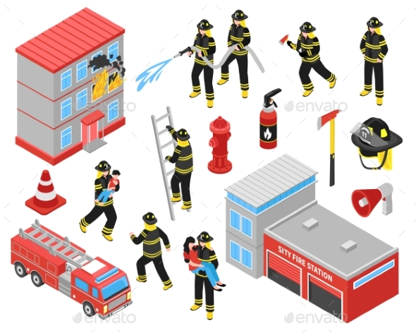 Fire Department Isometric Icons Set - Industries Business