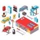 Auto Service Isometric Icons Set