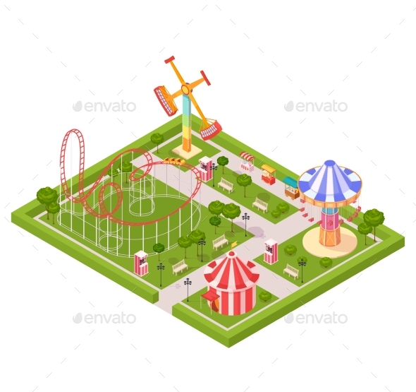 Amusement Park Design Composition - Miscellaneous Vectors