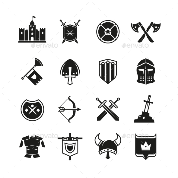 medieval warriors shield and sword vector icons by