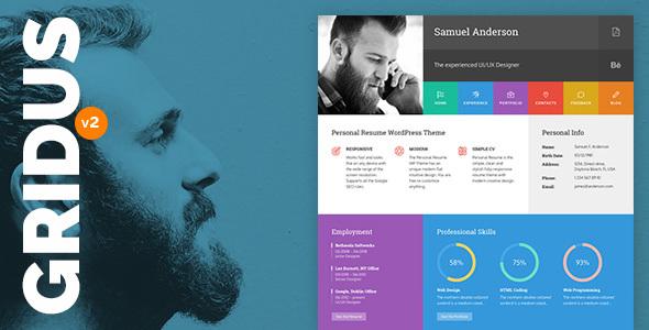 Resume Portfolio & CV vCard - Gridus