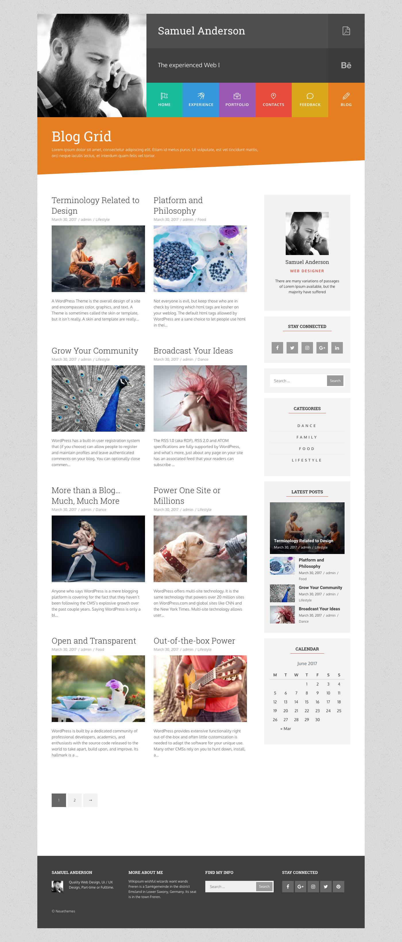 Resume Portfolio Cv Vcard Gridus By Neuethemes Themeforest