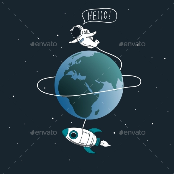 Astronaut Flying Around the Earth - Technology Conceptual