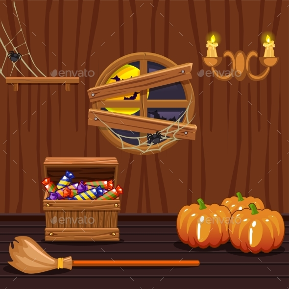 GraphicRiver Wooden House Cellar Halloween Symbols 20340759