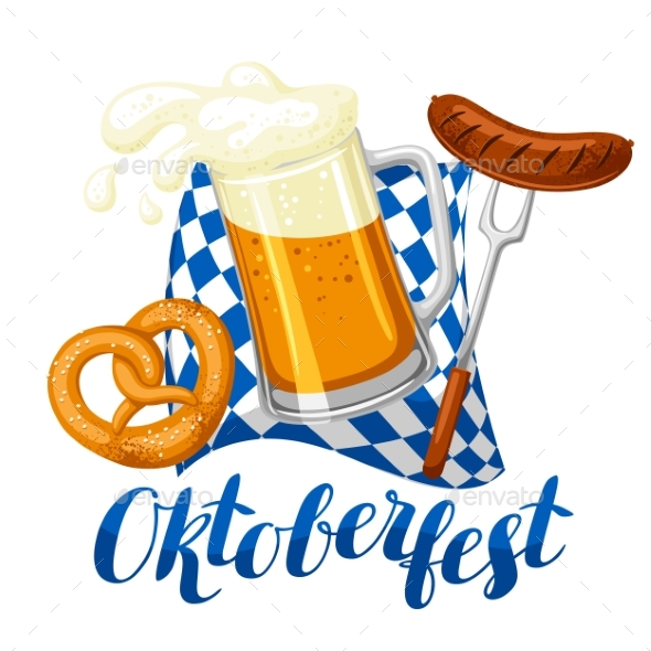 Oktoberfest Beer Festival. Illustration or Poster - Food Objects