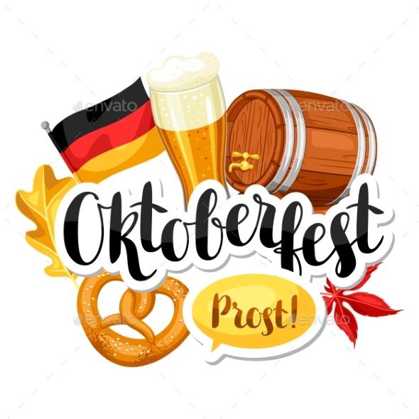 Oktoberfest Beer Festival. Illustration or Poster - Food Objects