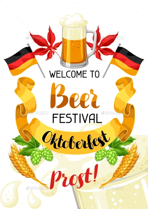 Oktoberfest. Welcome To Beer Festival. Invitation - Food Objects