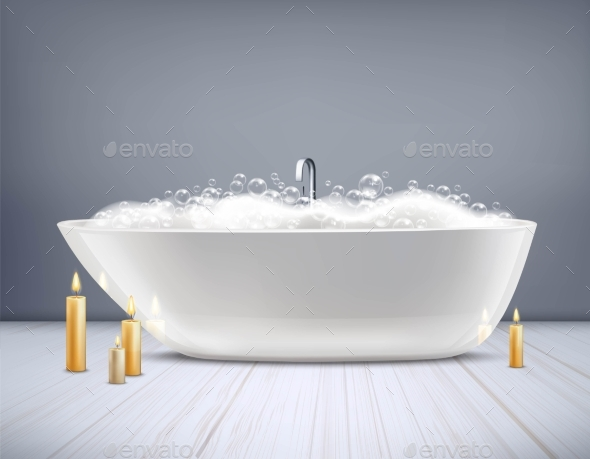 Bathtub With Foam 3D Illustration - Man-made Objects Objects