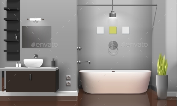 GraphicRiver Modern Realistic Bathroom Interior Design 20340916