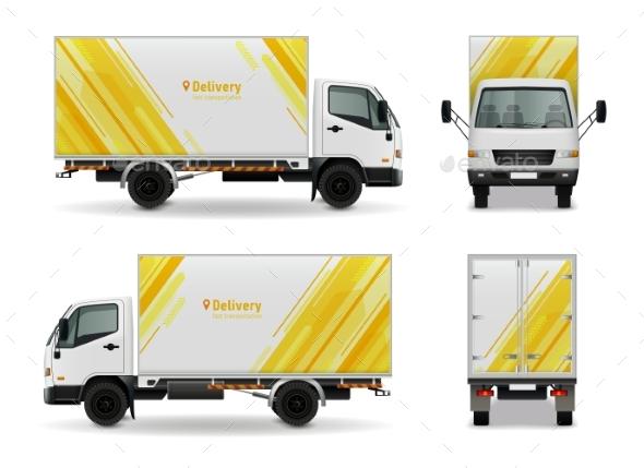 GraphicRiver Realistic Cargo Vehicle Advertising Mockup Design 20340933