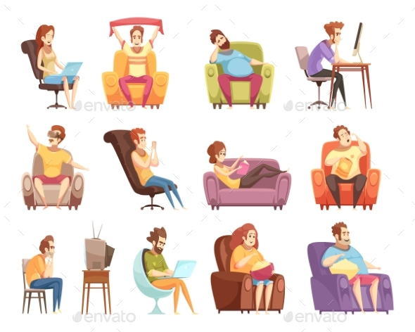 Sedentary Lifestyle Retro Cartoon Icons Set - People Characters