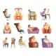 Sedentary Lifestyle Retro Cartoon Icons Set